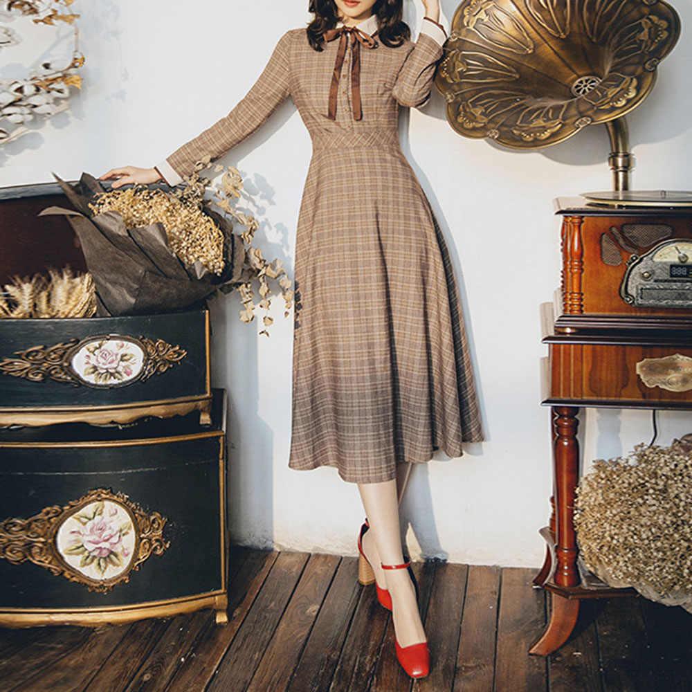 Sisjuly осенне-зимнее женское Ретро темпераментное клетчатое платье с длинным рукавом французские винтажные платья коричневое графическое шикарное платье