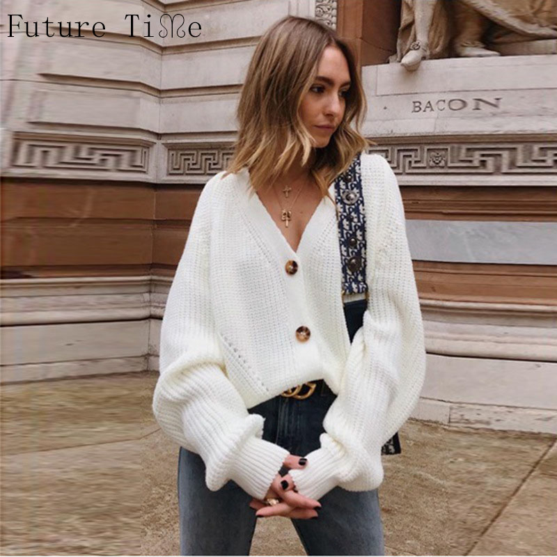 Future Time Button Up Sweater Cardigan Women Knitwear V Neck Women's Clothing Winter 2019 Cardigan Korean Style Cardigans F824