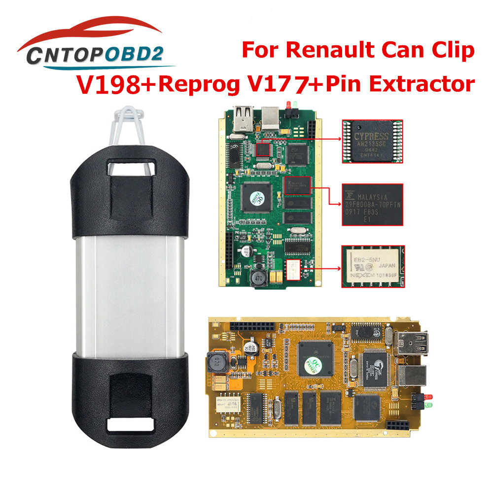 For Renault Can Clip V196 Full Chip With CYPRESS AN2135SC 2136SC Gold PCB Can Clip Car Diagnostic Tool For 1998-2019 Reprog V175