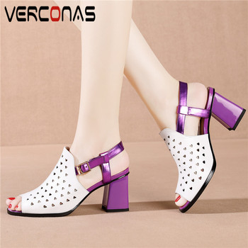 VERCONAS Women Thick Heel Buckle Pointed Toe Elegant High Quality High Heeled Sandals Genuine Leather Party Pumps Shoes Woman