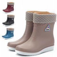 Chaussures plates directes d'usine bottes de pluie antidérapantes dames imperméables hiver chaud chaussures à tête ronde bottes imperméables bottes de pluie