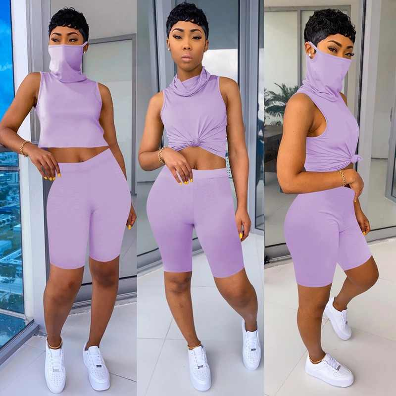 2020 Tweedelige Set Vrouwen Trainingspak Zomer Outfits Fitness Masker Crop Top En Biker Shorts Zweet Pak Lounge Wear Bijpassende sets