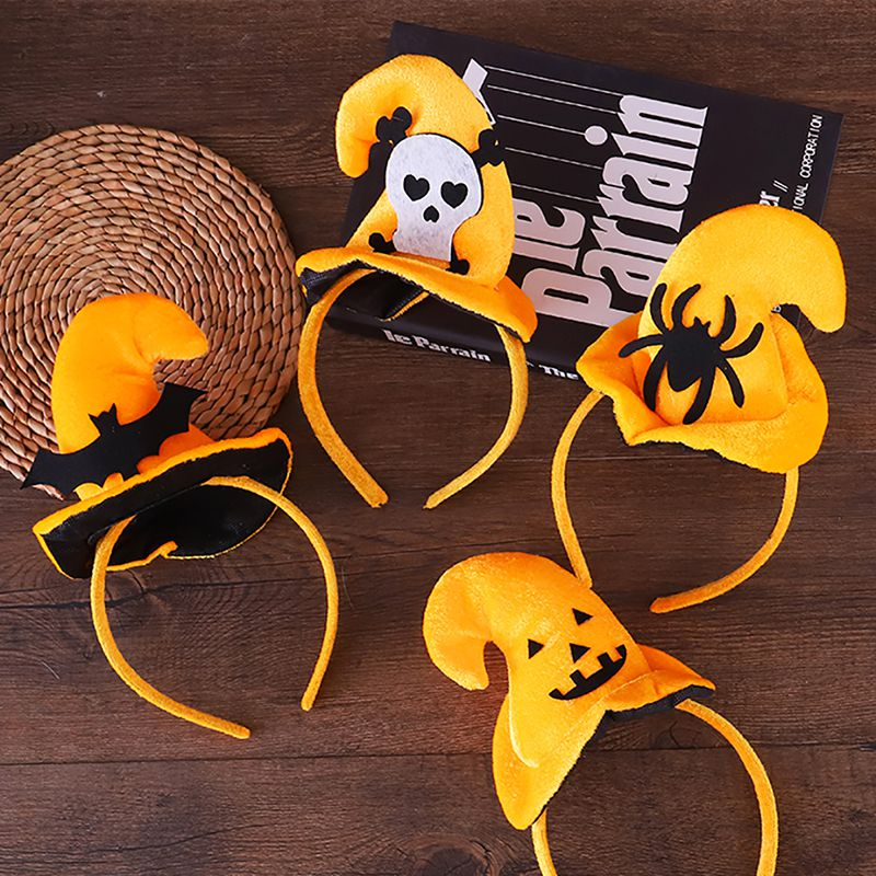 Children Halloween Headband Pumpkin Spider Halloween Witch Hat  Costume Cap Headband For Children\'s Party Toys Caps Cosplay