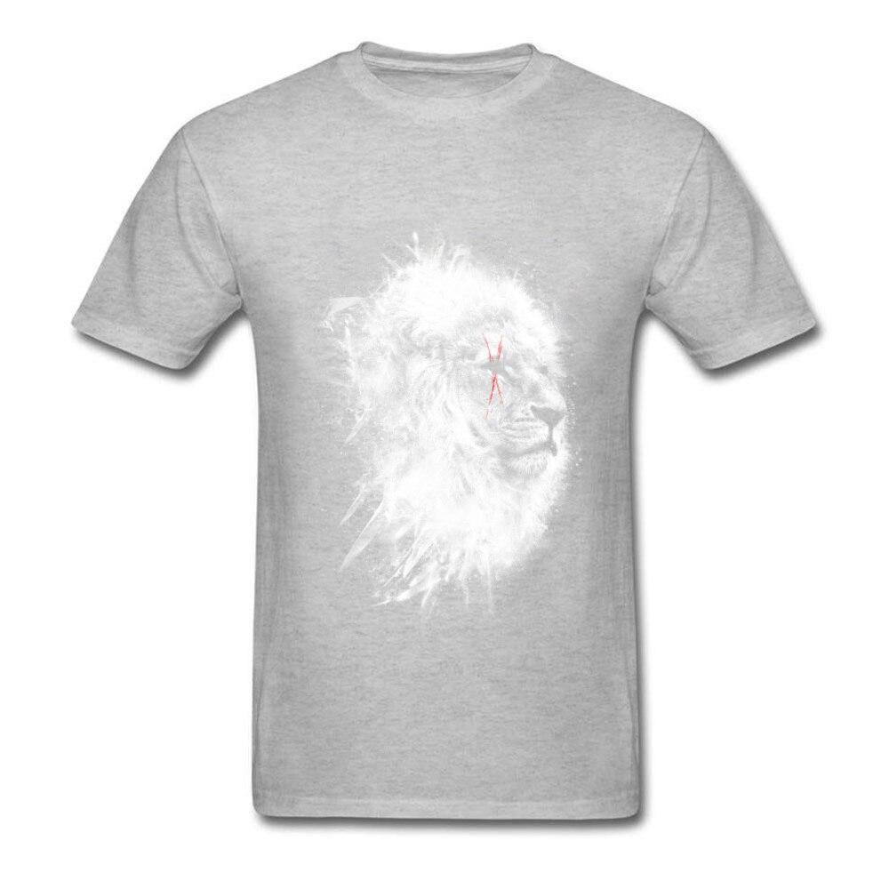 O-Neck Battle_scars_-_Lion_art_820 100% Cotton Fabric Mens T-Shirt Casual Short Sleeve Tops T Shirt High Quality Casual T-shirts Battle_scars_-_Lion_art_820 grey