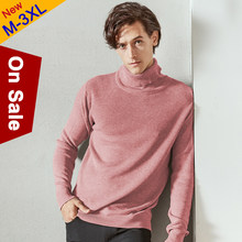MuLS Sweater Men Pullovers High-Neck Cotton Turtleneck Sweater Jumpers Christmas Red Autumn Winter Thick Warm Male Knitwears DropShip(China)