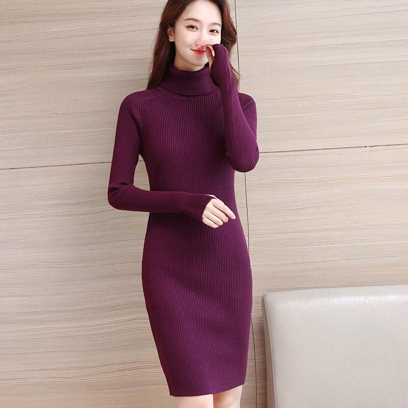 Korean Sweater Dress Fashion Women Knitted Dresses Elegant Turtleneck Sweaters Dress Knitting Plus size Winter Women Dresses