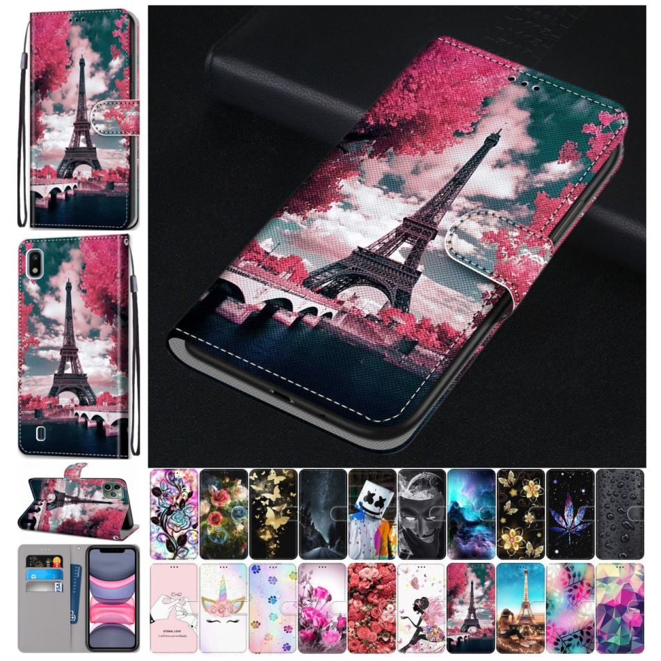 Cute Leather Phone Bag For Cover <font><b>Samsung</b></font> Galaxy A10 A10S A20S A20E A20 A2 Core A30 A40 A50 A60 A70 <font><b>A80</b></font> A90 Rose Wallet <font><b>Case</b></font> D08F image