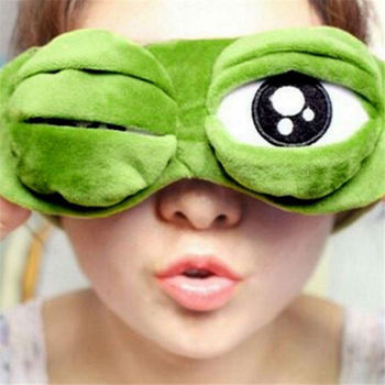 Funny Soft Plush Sleep Blindfold Eye Mask Convenient Kids 3D Frog Pattern Modeling Daydream Sleep Mask Eye Mask image