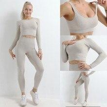 Leggings Ribbed Tracksuits Workout-Set Seamless Fitness Women Crop-Top Long-Sleeve High-Waist