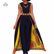 Projekt afrykański Bazin lato eleganckie damskie pajacyki kombinezon bez rękawów pajacyki kombinezon długie spodnie Dashiki Plus rozmiar BRW WY729 tanie tanio BintaRealWax Kombinezony Pełnej długości COTTON Na co dzień Skrzydeł Batik REGULAR Drukuj Traditional Clothing African Clothing