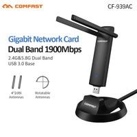RTL8814AU Gigabit 2.4G/5.8GHz Dual Band Suporte 802.11 ac Adaptador de 1900Mbps USB 3.0 Wi-fi Sem Fio placa de Rede AP Repeater