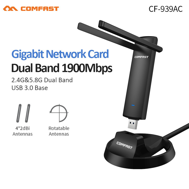 RTL8814AU Gigabit 2.4G/5.8GHz Dual Band Support 802.11 Ac 1900Mbps USB 3.0 WI-FI Wifi  Wireless Adapter AP Repeater Network Card