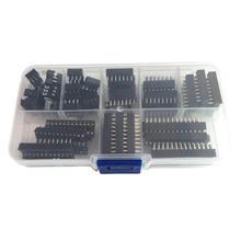 66 sztuk Dip Ic gniazda gniazdo do lutowania zestaw elektroniczny Diy zestaw asortymentowy 6 8 14 16 18 20 24 28 Pins moduł złącza tanie tanio CN (pochodzenie) IC Socket black 6P-28P