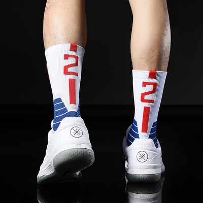No2 Kawhi Two Leonard Basketball Player Thick Sport Crew Towel Socks Digital Number USA California Los Angeles Team Arrow LA Sox