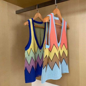New Fashion Pullover V-neck Wave  Jacquard Sweater Short Knit Sleeveless Vest 2020 Autumn Spring Loose Tops