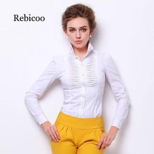 Shirt Women's Shirt 2019 Large Size Top Elegant Stand Collar Long Sleeve 4XL White Dress