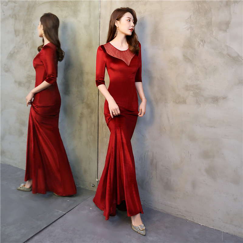 Red Evening Dress 2020 Female Queen Formal Party Velvet Mermaid Gown  Ladies Sexy Robes Elegant Formal Gowns Vestidos De Fiesta