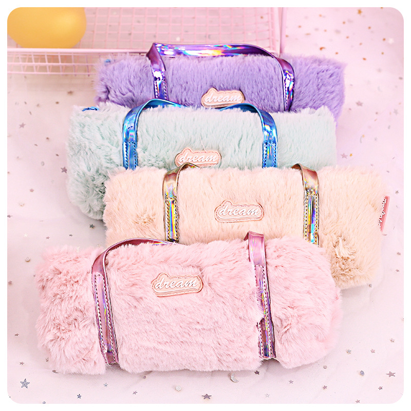 Kawaii PU Furry Pencil Case Pink Plush Cute Solid Pencil Case For Girls Pencil Bag Stationery Pencilcase Lovely School Supplies