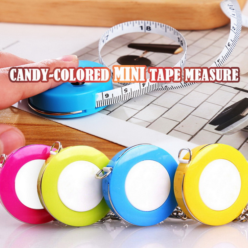 Candy Color Portable Keychain Tape Measure 1.5 Meters Length Clothing Size Tape Measure Small Tape Measure