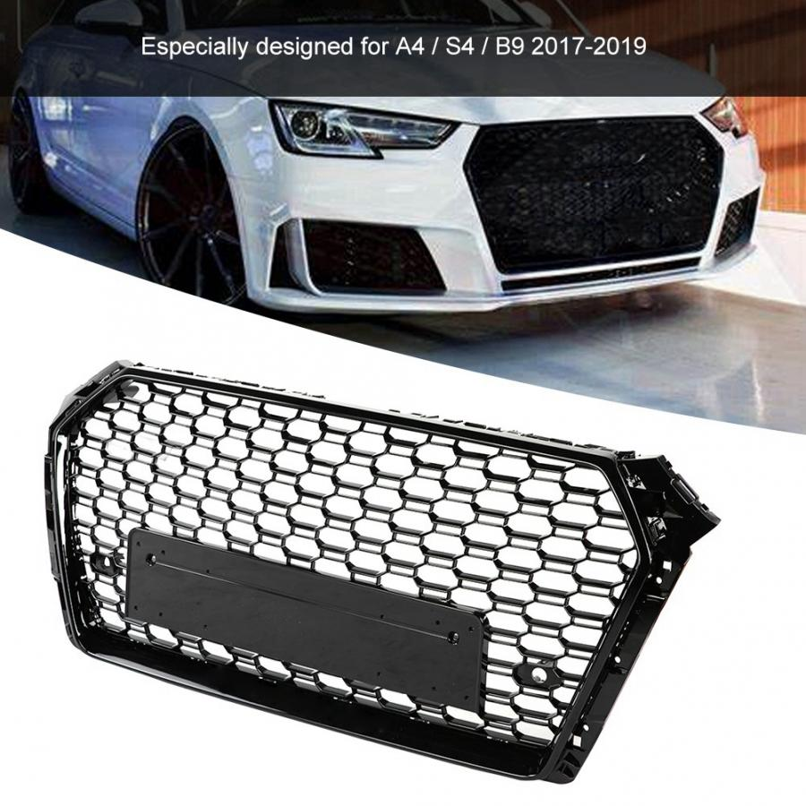 For Audi A4 S4 B9 Front Sport Hex Mesh Honeycomb RS Style Grill Grille 2017-2019