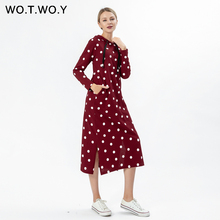 WOTWOY Autumn Dot Pocket Casual Cotton Women Dress 2019 Mid-Calf Long sleeve Straight Female Hoodies Clothes