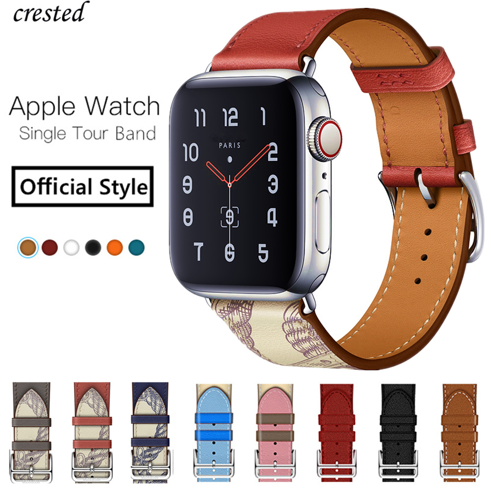Single Tour Bracelet For Apple Watch 5 Band 44mm 40mm IWatch Band 42mm 38mm Genuine Leather Strap For Apple Watch 4 3 2 1 44 40