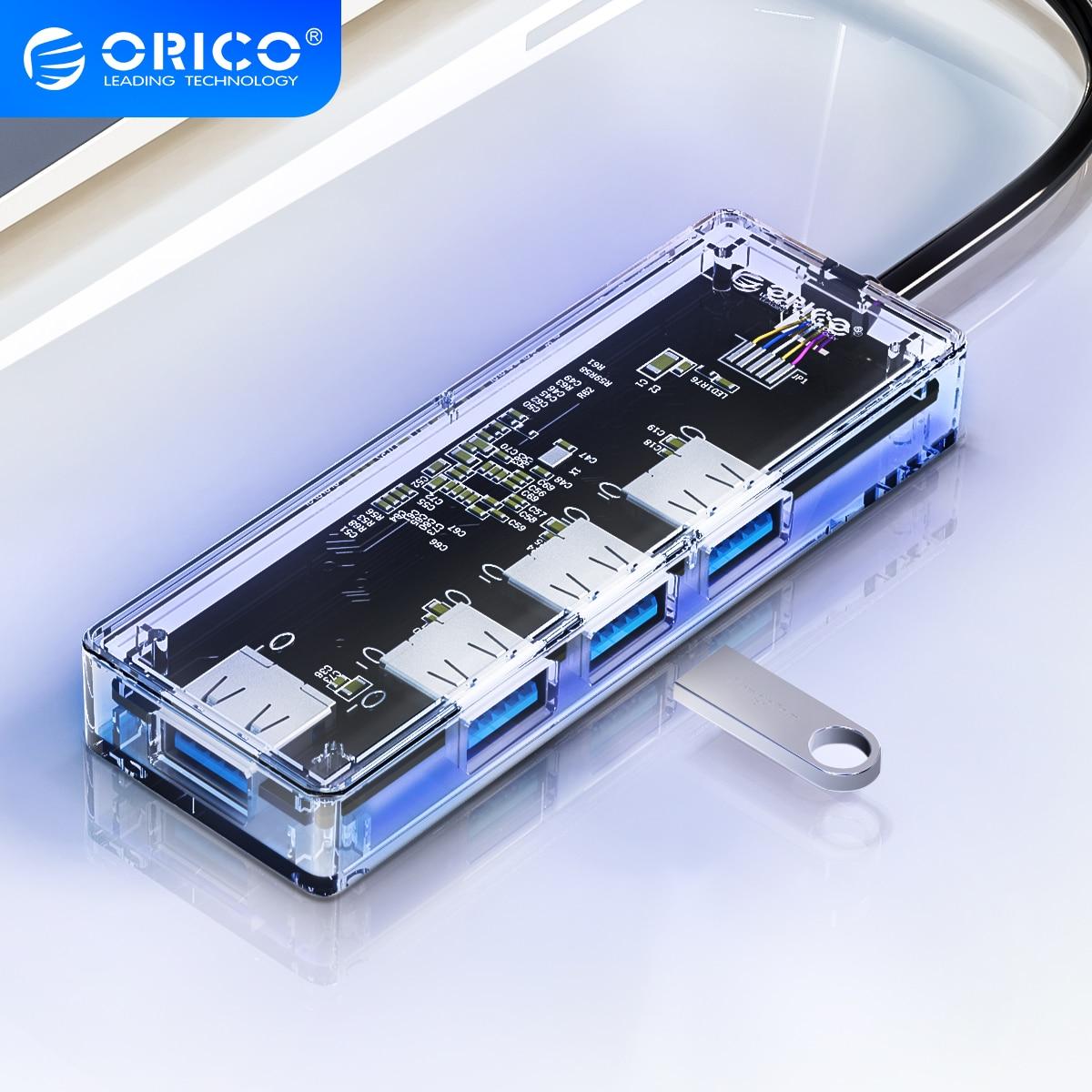 Прозрачный концентратор USB 3,0 ORICO, высокоскоростной Разветвитель USB с 4 портами, устройство для чтения карт SD, TF, OTG, адаптер для ПК, компьютерны...