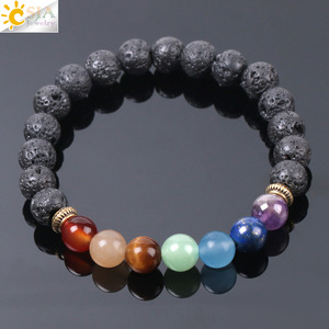 Image 1 - CSJA Natural Black Lava Beads Men Bracelets Muti color 7 Chakra Mala Stone Prayer Meditation Diffuser Energy Reiki Jewelry E955