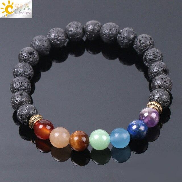 CSJA Natural Black Lava Beads Men Bracelets Muti color 7 Chakra Mala Stone Prayer Meditation Diffuser Energy Reiki Jewelry E955