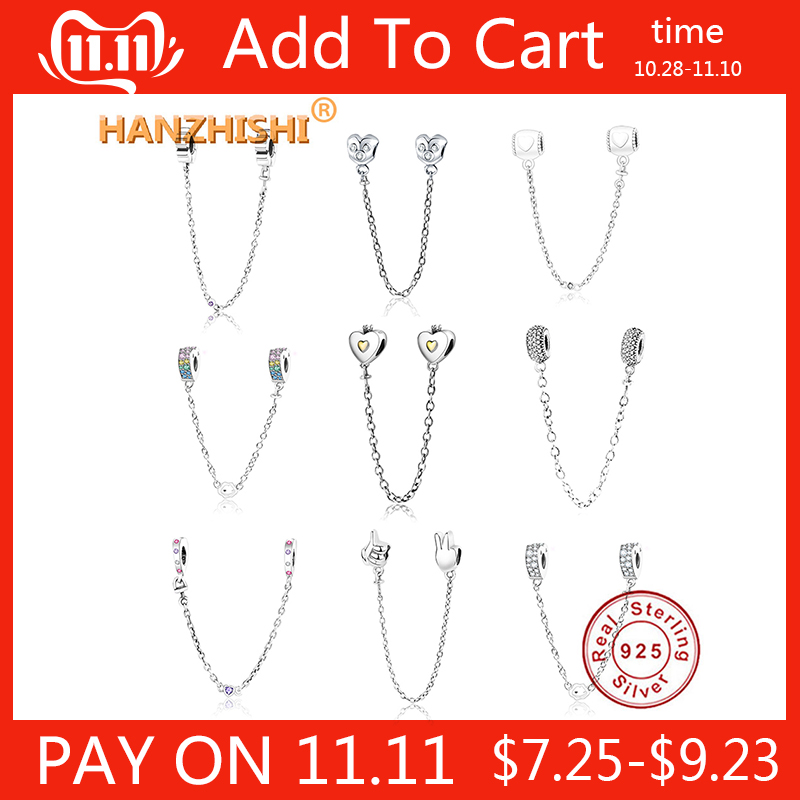 2018 Newest 925 Sterling Silver Heart Safety Chain Charms Beads With CZ Fits Original Pandora Charm Bracelet DIY Jewelry Making