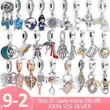 Fine Jewelry 925 Sterling Silver Guitar Family Tree snowflake Dangle Charms Pendant Fit Original Pandora Bracelet S925 Jewelry