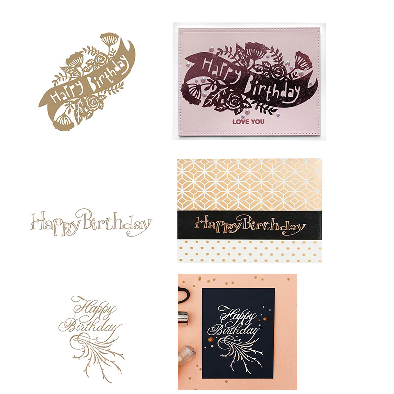 2019 New Happy Birthday Greetings Hot Foil Plate for DIY Scrapbooking Letterpress Embossing Paper Cards Crafts