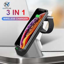KSTUCNE 3 in 1 Qi Wireless Charger  For iPhone 12 11 X XR Samsung Buds For Apple Watch 6 5 4 3 Airpods Pro 15W Fast Charger Dock
