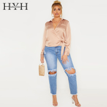 HYH HAOYIHUI New Arrival Summer Fashion Ladies Plus Size Sexy Personality Lace-up Deep V-neck Long-sleeved Womens Shirt