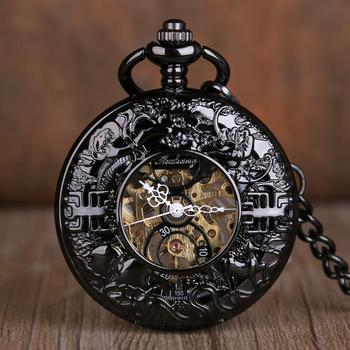 Antique Mechanical Pocket Watches Hollow Black Dial Hand-Winding Fob Chain Pocket Watches Skeleton Steampunk Clock for Men Women