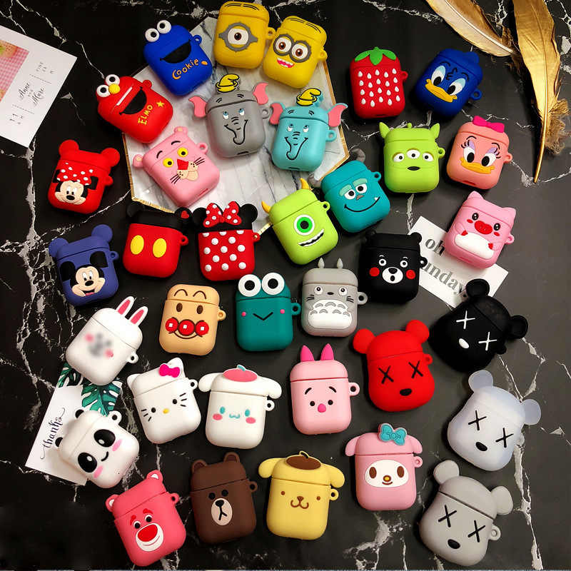 DHL Free 50pcs Cartoon Silicone Case +Hook for Apple Airpods Accessories for i10 TWS Bluetooth Earphone Box Protective Cover Bag