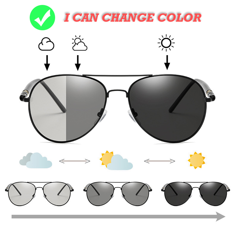 Photochromic Sunglasses Men Polarized Aviation Sunglasses Driving Sun Glasses Men UV400 High Quality Retro Metal Frame Sunglass