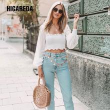 Женская футболка с длинным рукавом higareda элегантный укороченный
