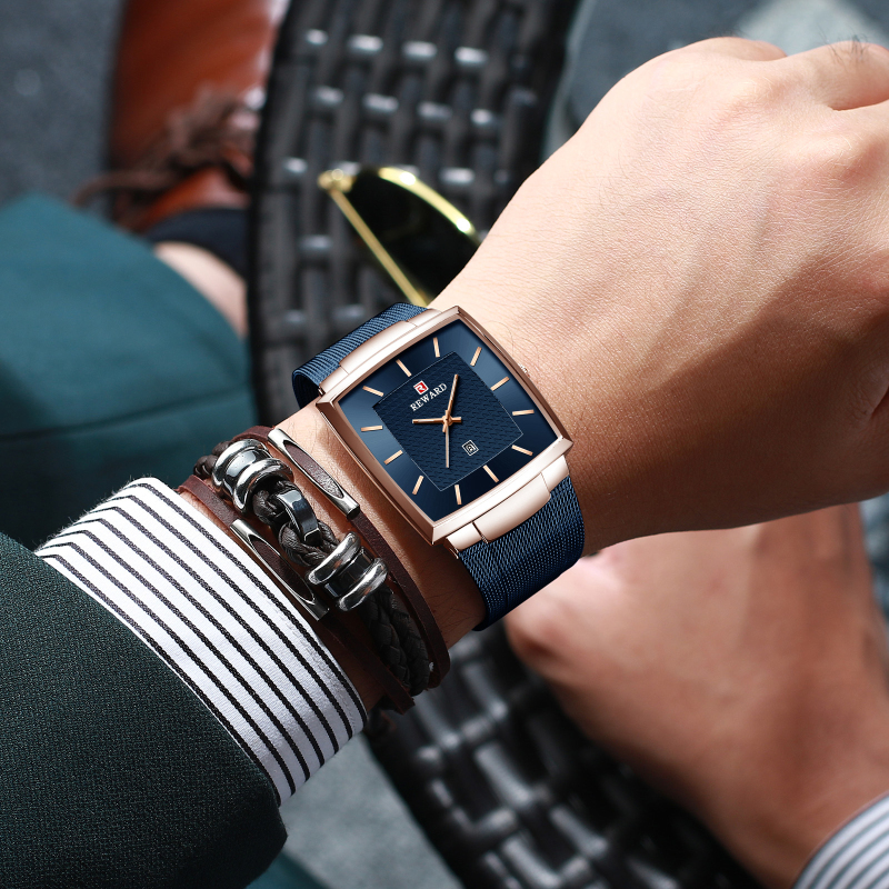 New Blue Quartz Clock REWARD Mens Watches Top Brand Luxury Watch Men Simple All Steel Waterproof Wrist Watch Reloj Hombre
