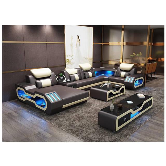 US $1680.0 |modern living room furniture genuine leather sofa bedroom  corner seat sofa with led light on AliExpress