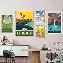 Ver América Florida Sunny Beach lienzo pinturas Vintage viajes pared Kraft carteles recubiertos pared pegatinas hogar Decoración regalo