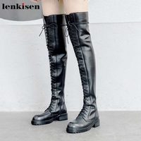 Lenkisen mature fashion cow leather leisure lace up shoes zip round toe med heels winter keep warm women over the knee boots L16