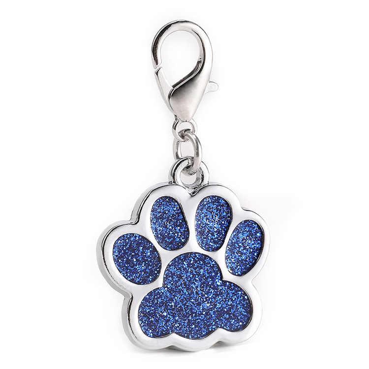 Personalizzato Dog Tags Glitter Forma Zampa del Gatto del Cucciolo Pet ID Nome Tag Collare Personalizzato Anti-lost Spedizione Inciso Ciondolo accessori Per animali domestici