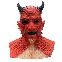 Şeytan korku Lord Diablo Belial maske Cosplay patron Belial lateks maskeleri eldiven cadılar bayramı karnaval parti kostüm sahne