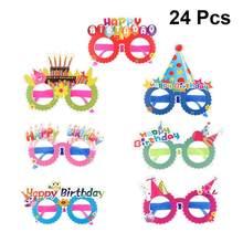 Marcos de gafas de sol de fiesta para niños, decoración de vasos de cumpleaños, fotomatón, suministros de fiesta, estilo aleatorio, 24 Uds.
