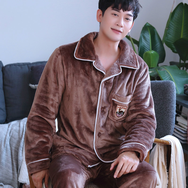 H5909 Men Pajamas Autumn Winter Thickened Flannel Plus Size Warm Sleepwear Set Youth Middle-aged Male Corals Thermal Nightwear