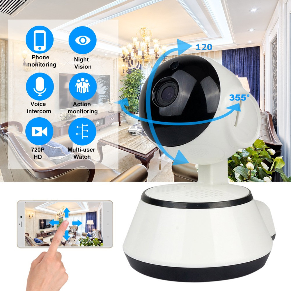 LESHP Baby Monitor Mini IP Camera 720P HD 3.6mm Wireless Smart WiFi Audio Record Surveillance Home Security