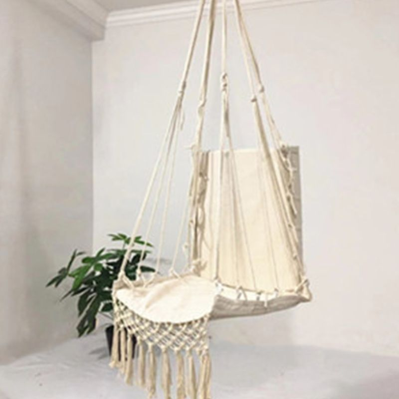 H72f10b23dfdf4d0aa402fd9c4fc548d8a Nordic Style Hammock Safety Beige Hanging Hammock Chair Swing Rope Outdoor Indoor Hanging Chair Garden Seat for Child Adult