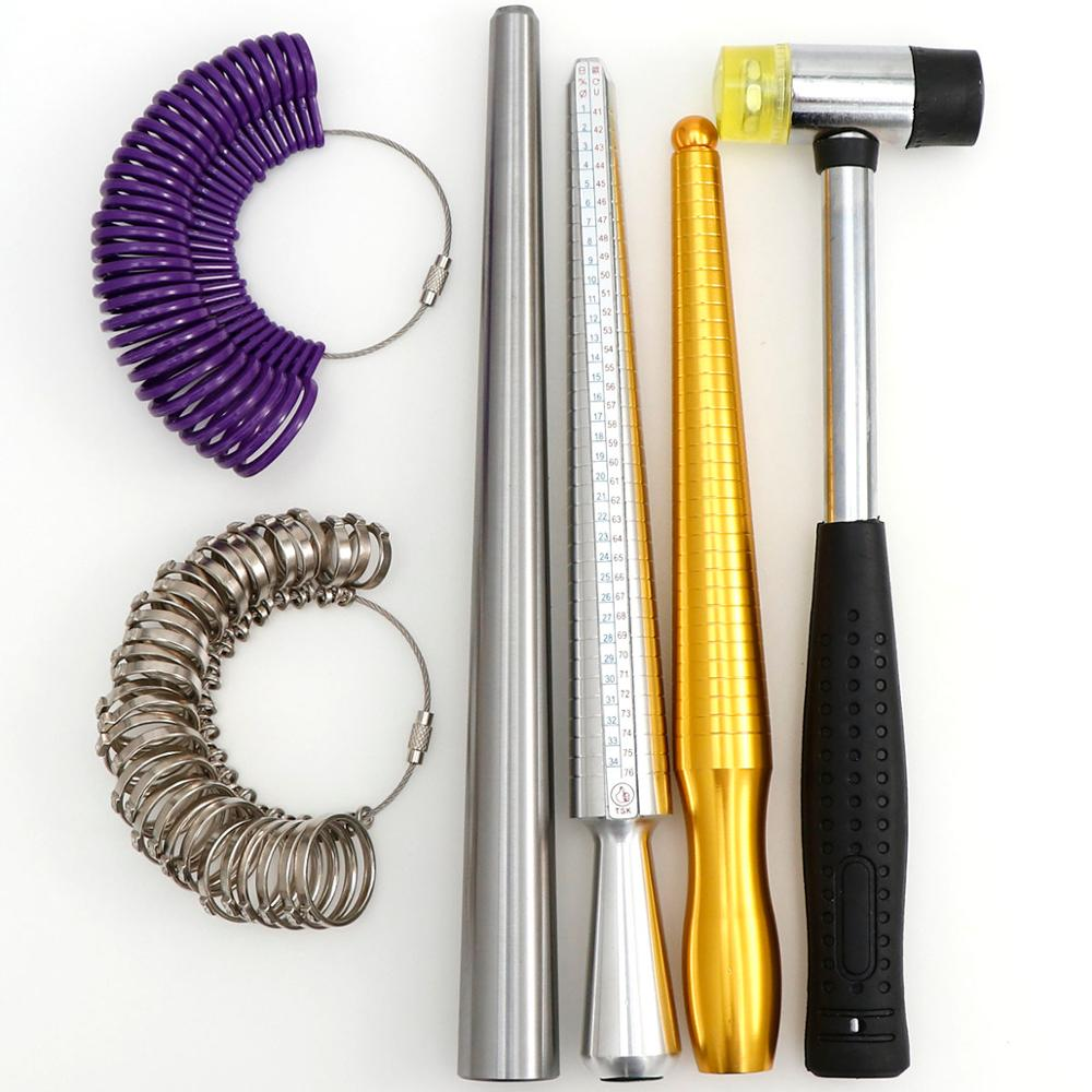 1set Black Ring Size Mandrel Stick Finger Gauge Ring Sizer Measuring Jewelry Tool With Standard Circle Sets Finger Gauge Rings