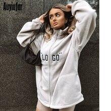 Auyiufar Fashion Sweatshirt Women With Zipper Oversized Long Sleeve Loose Streetwear Tops Letter 2019 Winter Warm Outerwear Coat